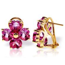 Genuine 7.6 ctw Pink Topaz Earrings Jewelry 14KT Yellow Gold - REF-82W9Y