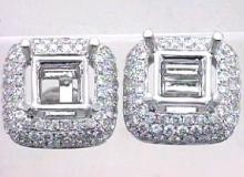 Genuine 1.95 CTW Diamond Semi Mount  Earring in 14K White Gold - REF-189R5K