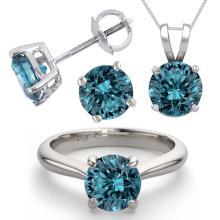 14K White Gold Jewelry SET 4.0CTW Blue Diamond Ring, Earrings, Necklace - REF#6798X7F-WJ13347