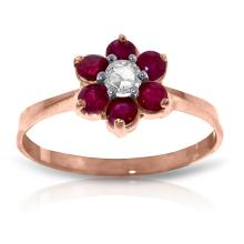 Genuine 0.50 ctw Ruby & Diamond Ring Jewelry 14KT Rose Gold - REF-42A2K