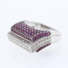 Round-Cut 4-Row Ruby and Diamond Ring in 14K White Gold - REF-138Y8X