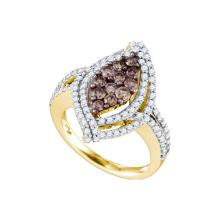 1.55 CTW Cognac-brown Colored Diamond Wide Cluster Ring 10K Yellow Gold - REF-139H9X