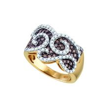 1 CTW Cognac-brown Colored Diamond Swirled Cocktail Ring 10K Yellow Gold - REF-109H8X