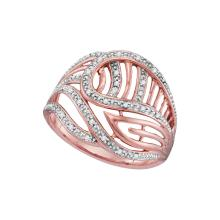 0.1 CTW Natural Diamond Open-work Cocktail Ring 10K Rose Gold - REF-24H2X