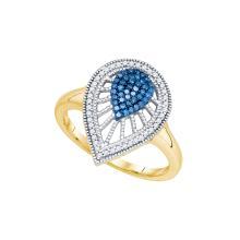 0.25 CTW Blue Colored Diamond Teardrop Cluster Ring 10K Yellow Gold - REF-40H2X