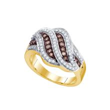 0.5 CTW Cognac-brown Colored Diamond Band 10K Yellow Gold - REF-50H2X