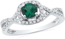 0.7 CTW Lab-Created Emerald Solitaire Diamond Ring 10K White Gold - REF-27H9X