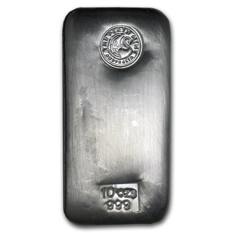 Genuine 10 oz 0.999 Fine Silver Bar - Perth Mint