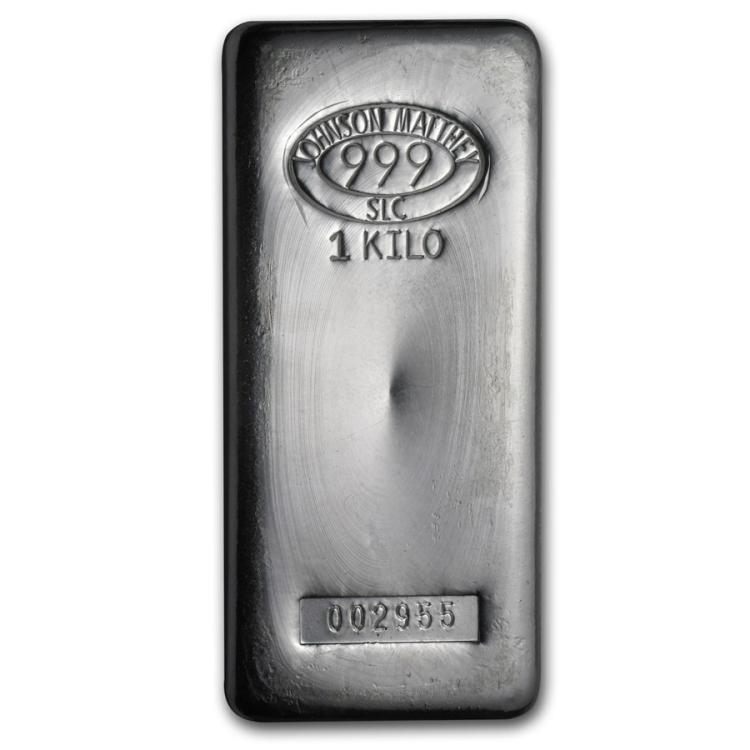 Genuine 1 kilo 0.999 Fine Silver Bar - Johnson Matthey
