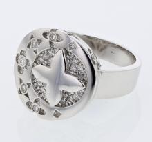 Round Pave & Flushed Floral Diamond Ring in 18K White Gold - REF-122W5H