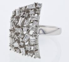 Baguette & Round Prong-set Diamond Ring in 18K White Gold - REF-239X3Y