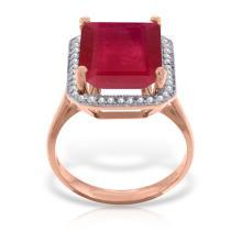 Genuine 7.45 ctw Ruby & Diamond Ring Jewelry 14KT Rose Gold - REF-119R7P