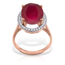 Genuine 7.93 ctw Ruby & Diamond Ring Jewelry 14KT Rose Gold - REF-124Z2N