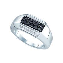 0.7 CTW Mens Black Colored Diamond Band 10K White Gold - REF-55V9T