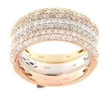 14K Tri Color Gold 1.96CTW Diamond Band Ring - REF-183F9M