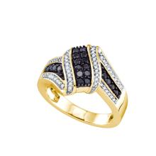 0.55 CTW Black Colored Diamond Cluster Ring 10K Yellow Gold - REF-55V9T