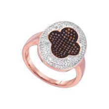 0.5 CTW Red Colored Diamond Cluster Ring 10K Rose Gold - REF-79V9T