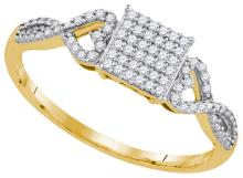 0.18 CTW Natural Diamond Square Cluster Ring 10K Yellow Gold - REF-24V2T