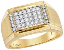 0.4 CTW Mens Natural Diamond Square Cluster Ring 14K Yellow Gold - REF-99V9T