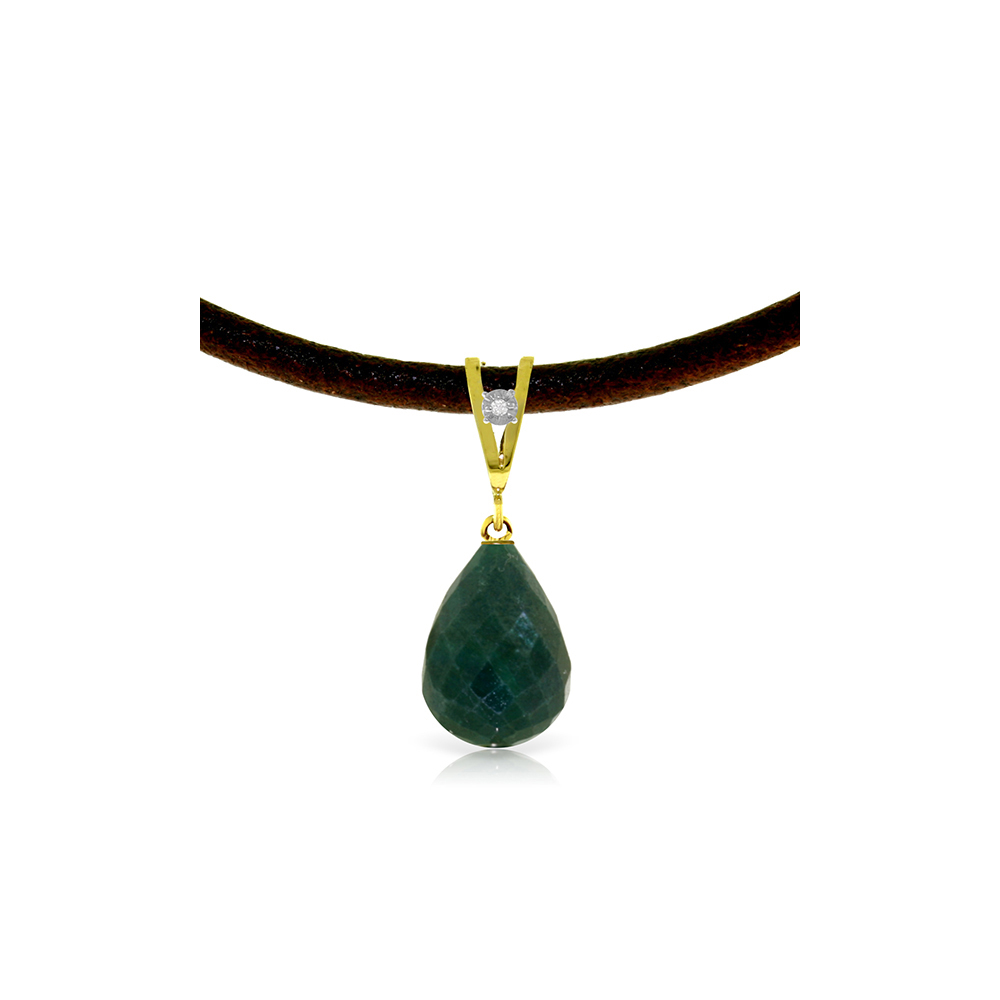 Lot 4005: Genuine 15.51 ctw Green Sapphire Corundum & Diamond Necklace Jewelry 14KT Yellow Gold - REF-30Z2N