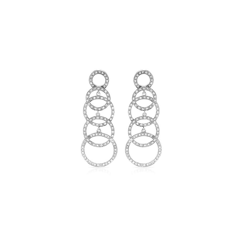 0.94 CTW Diamond Earrings 14K White Gold - REF-93F5N