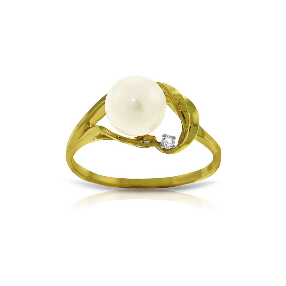 Genuine 2.02 ctw Pearl & Diamond Ring Jewelry 14KT Yellow Gold - REF-27Y2F