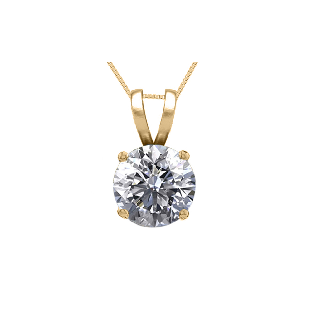 Lot 4014: 14K Yellow Gold 0.76 ct Natural Diamond Solitaire Necklace - REF-185V6G-WJ13316