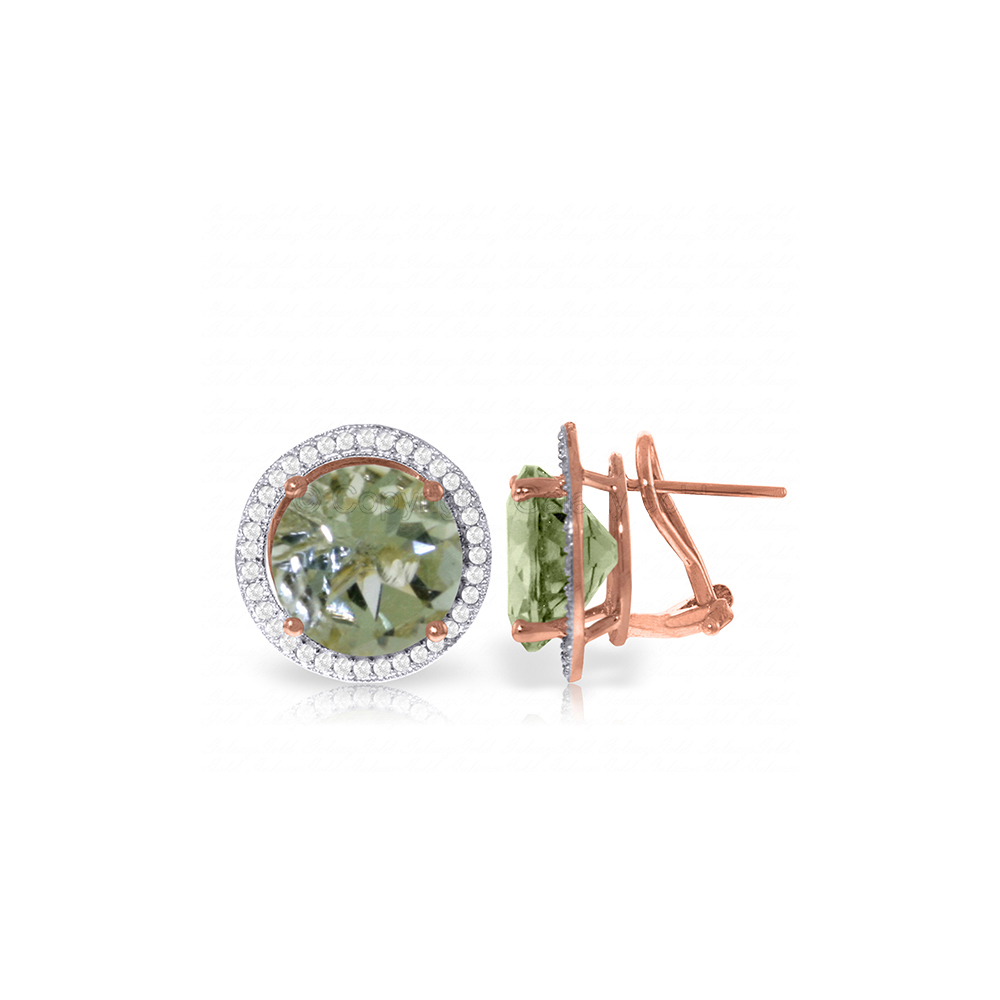 Genuine 10.40 ctw Green Amethyst & Diamond Earrings Jewelry 14KT Rose Gold - REF-120T5A