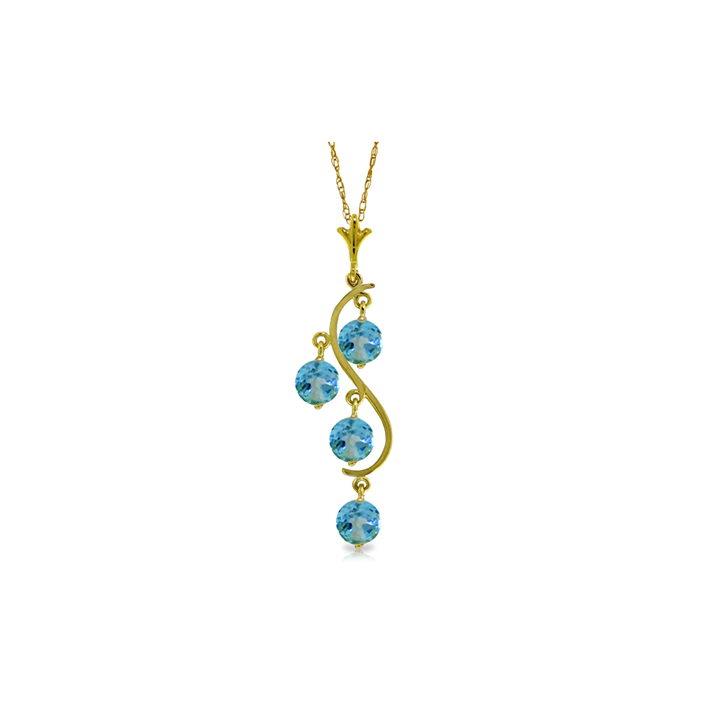 Lot 4024: Genuine 2.25 ctw Blue Topaz Necklace Jewelry 14KT Yellow Gold - REF-30Y2F