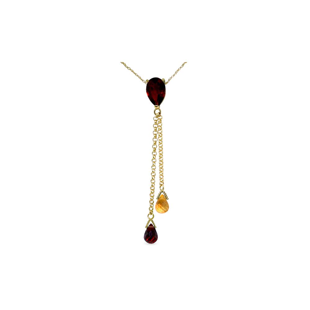 Genuine 3.75 ctw Garnet & Citrine Necklace Jewelry 14KT Yellow Gold - REF-23R5P
