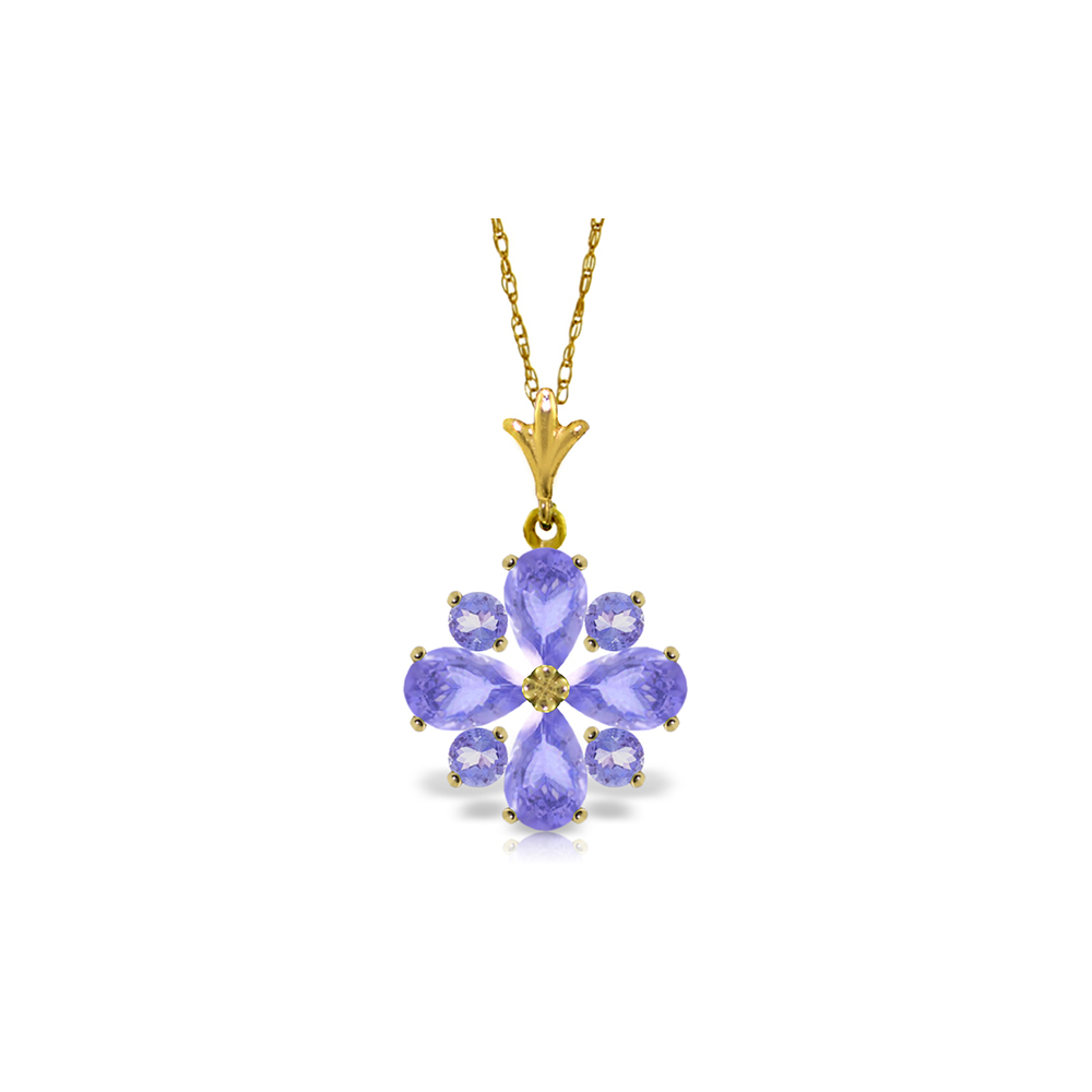 Genuine 2.43 ctw Tanzanite Necklace Jewelry 14KT Yellow Gold - REF-50Z9N