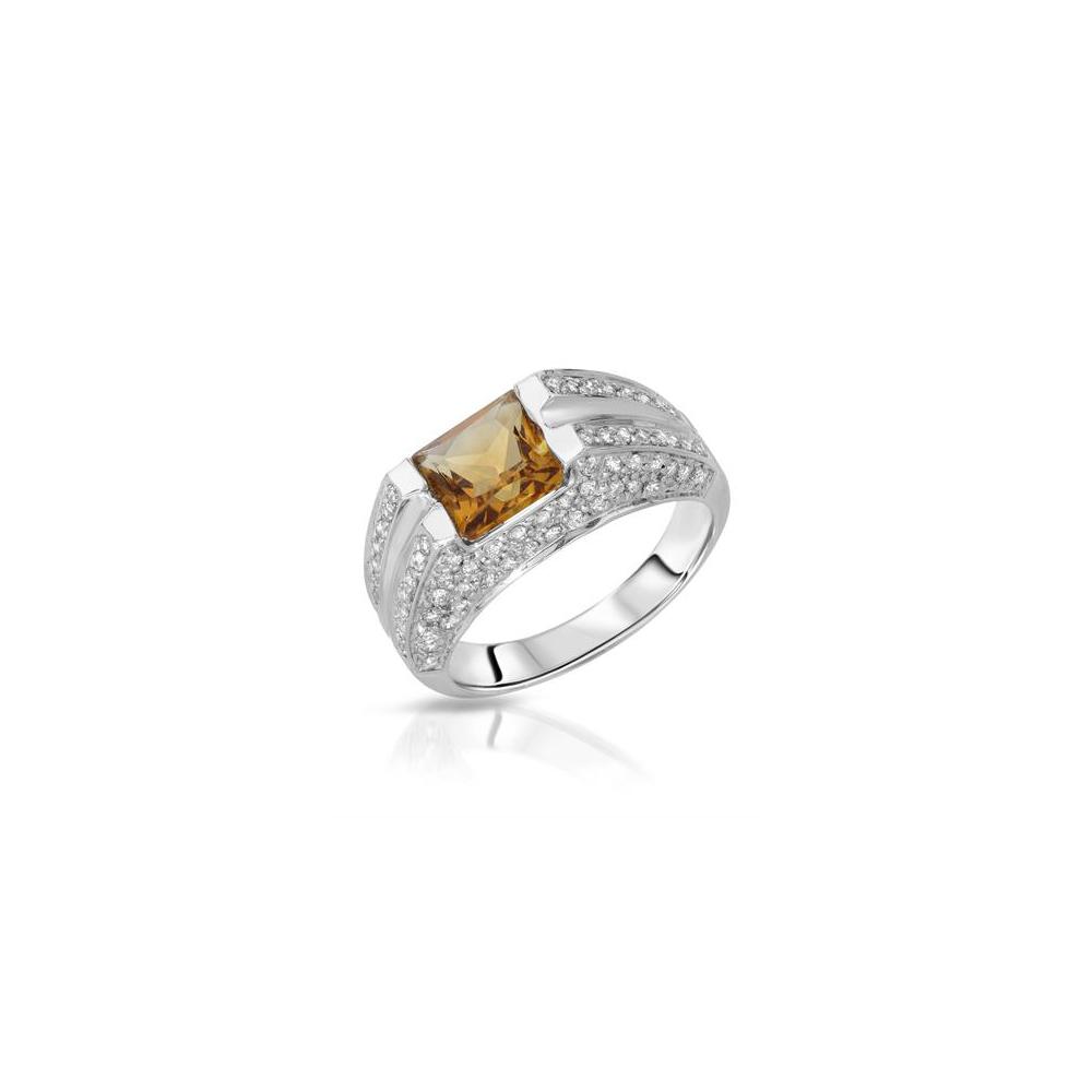 2.07 CTW Citrine & Diamond Ring 18K White Gold - REF-72H3M