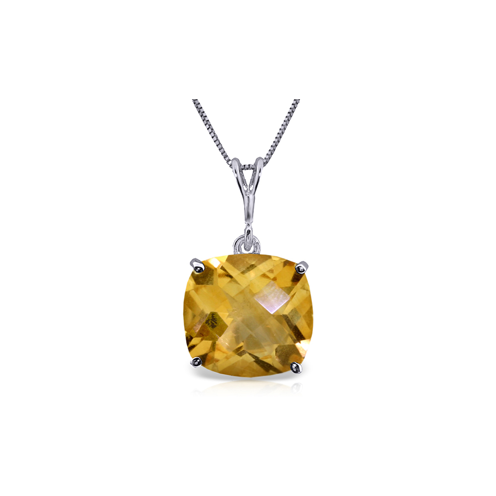 Genuine 3.6 ctw Citrine Necklace Jewelry 14KT White Gold - REF-28N9R