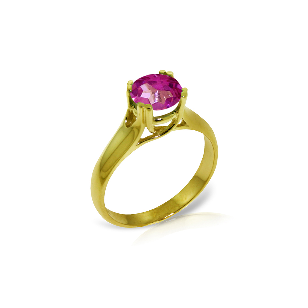 Genuine 1.10 ctw Pink Topaz Ring Jewelry 14KT Yellow Gold - REF-57M6T