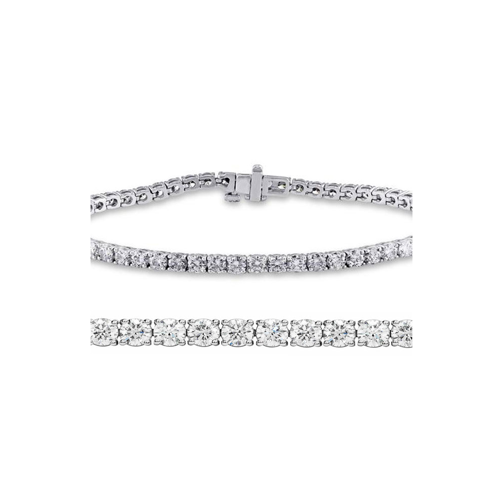 Lot 4084: Natural 3.01ct VS-SI Diamond Tennis Bracelet 18K White Gold - REF-236X6F
