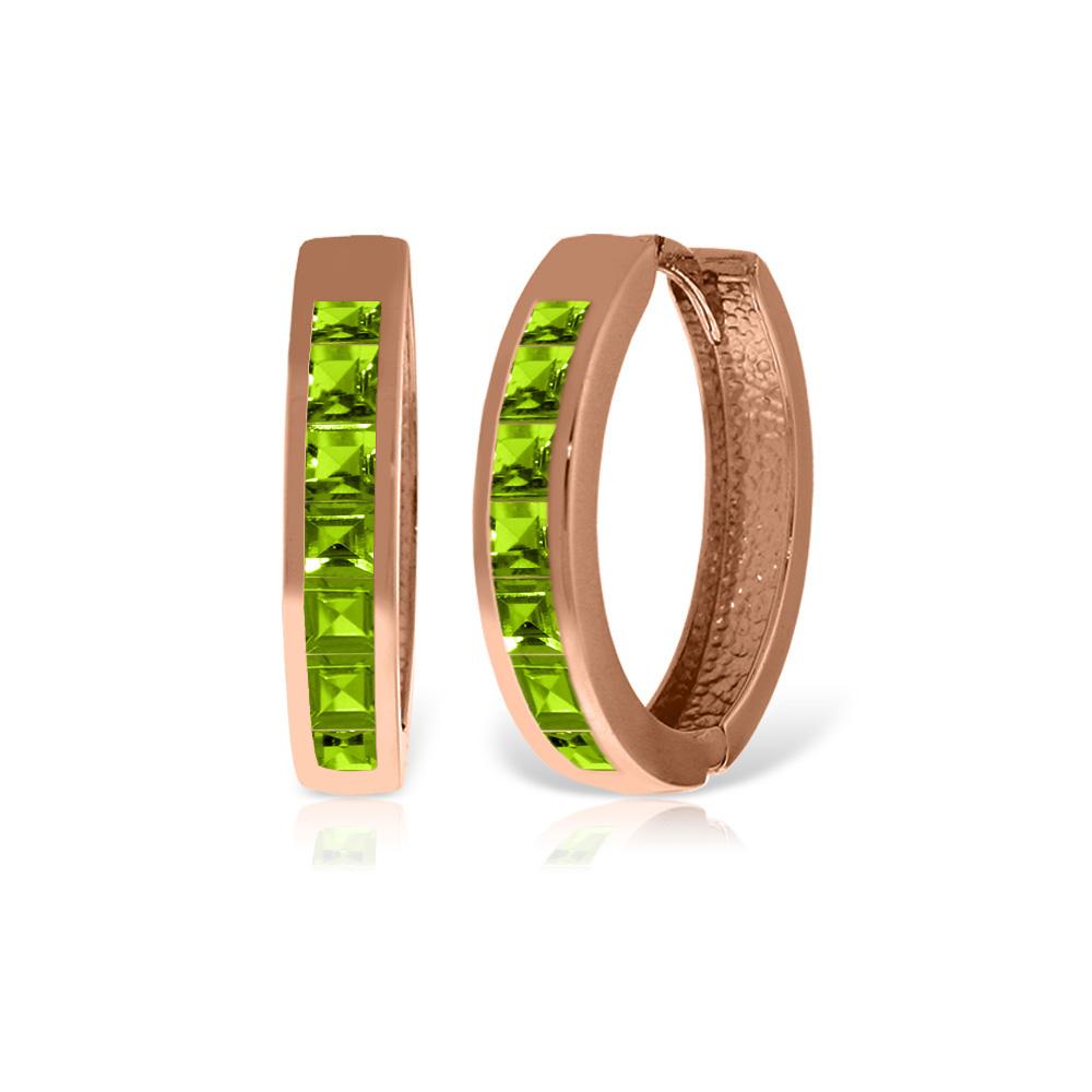 Genuine 1.40 ctw Peridot Earrings Jewelry 14KT Rose Gold - REF-56M8T