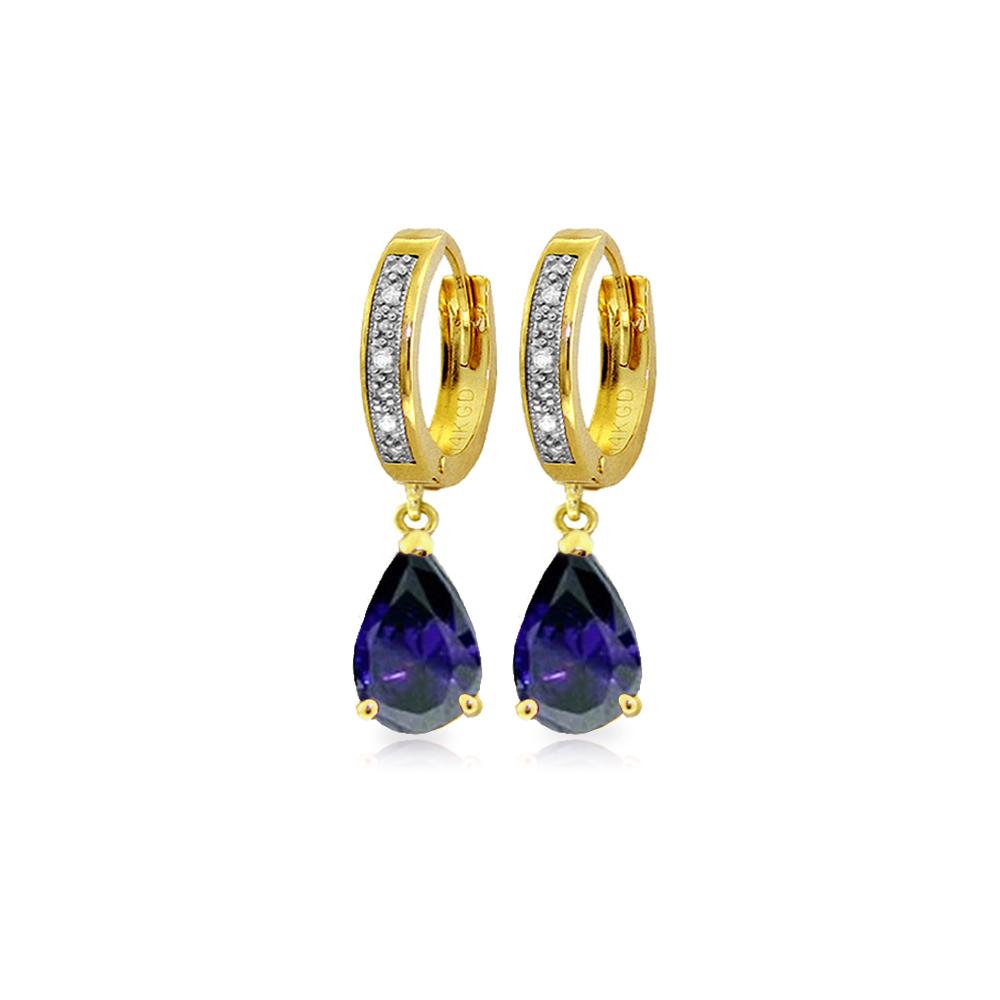Genuine 3.53 ctw Sapphire & Diamond Earrings Jewelry 14KT Yellow Gold - REF-73M2T