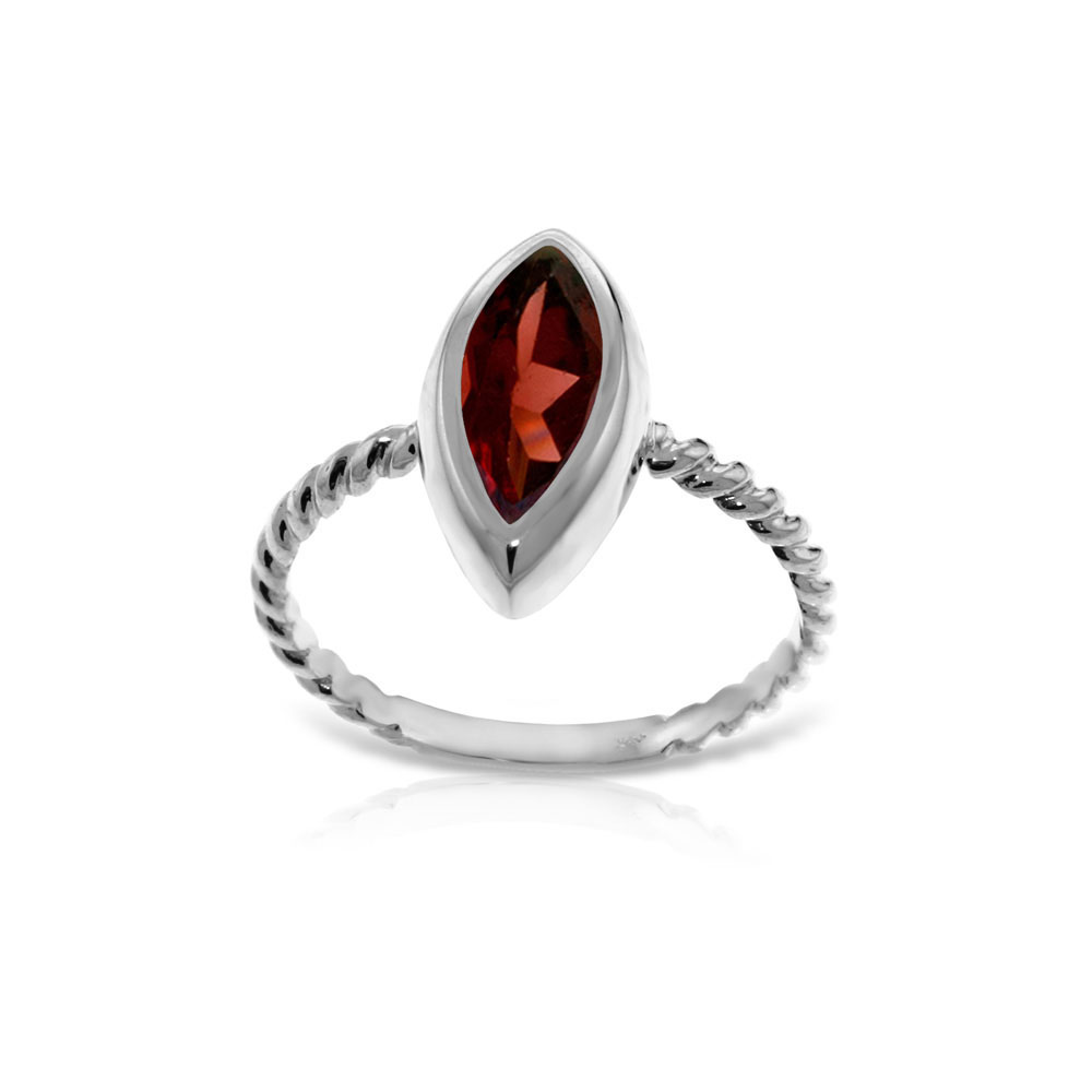 Genuine 2 ctw Garnet Ring Jewelry 14KT White Gold - REF-39M3T