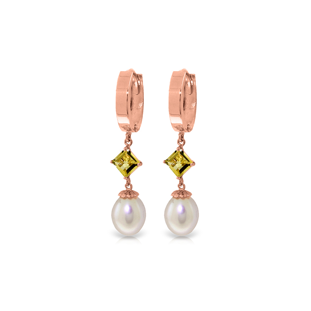 Genuine 9.5 ctw Pearl & Citrine Earrings Jewelry 14KT Rose Gold - REF-53W2Y