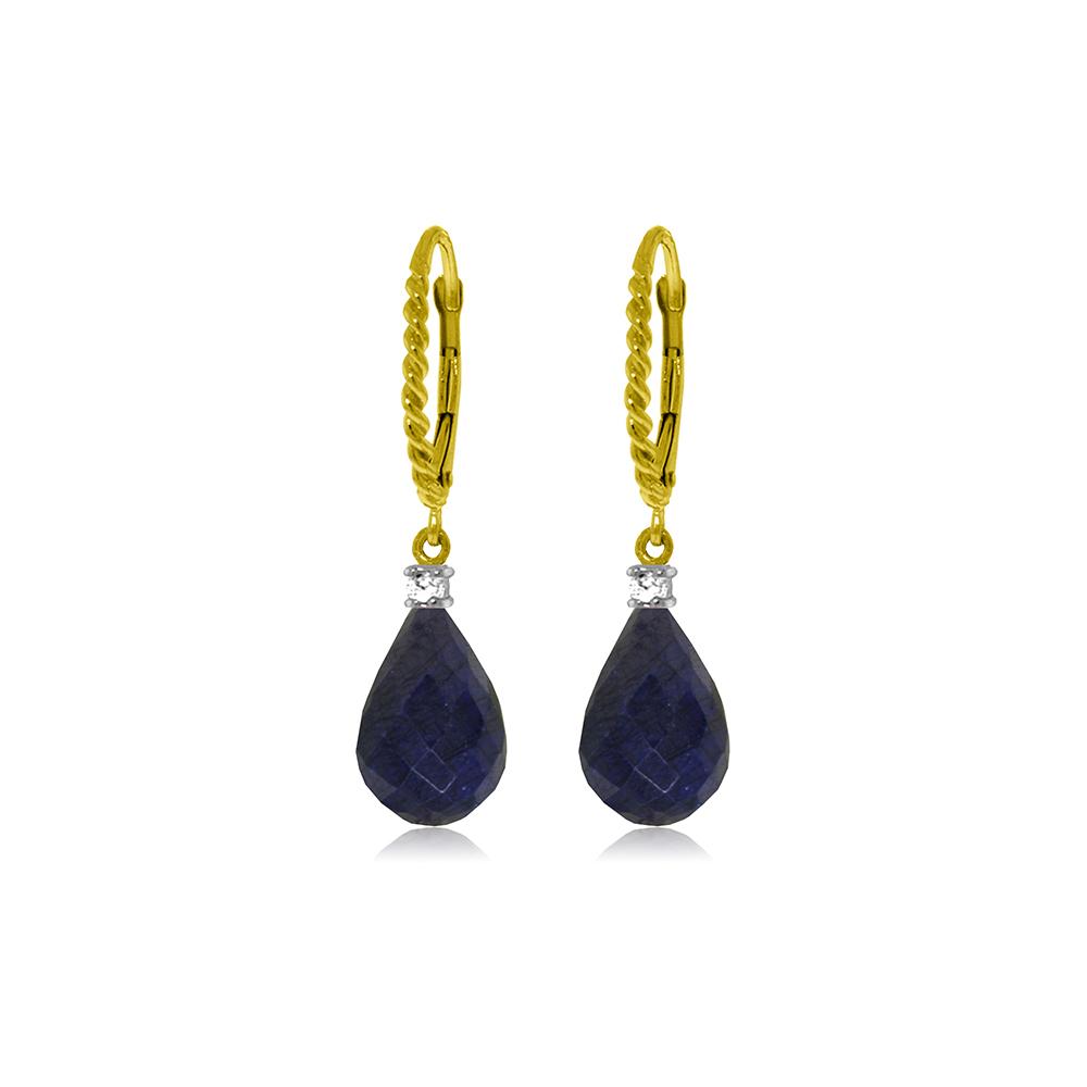 Lot 4164: Genuine 17.7 ctw Sapphire & Diamond Earrings Jewelry 14KT Yellow Gold - REF-42N6R