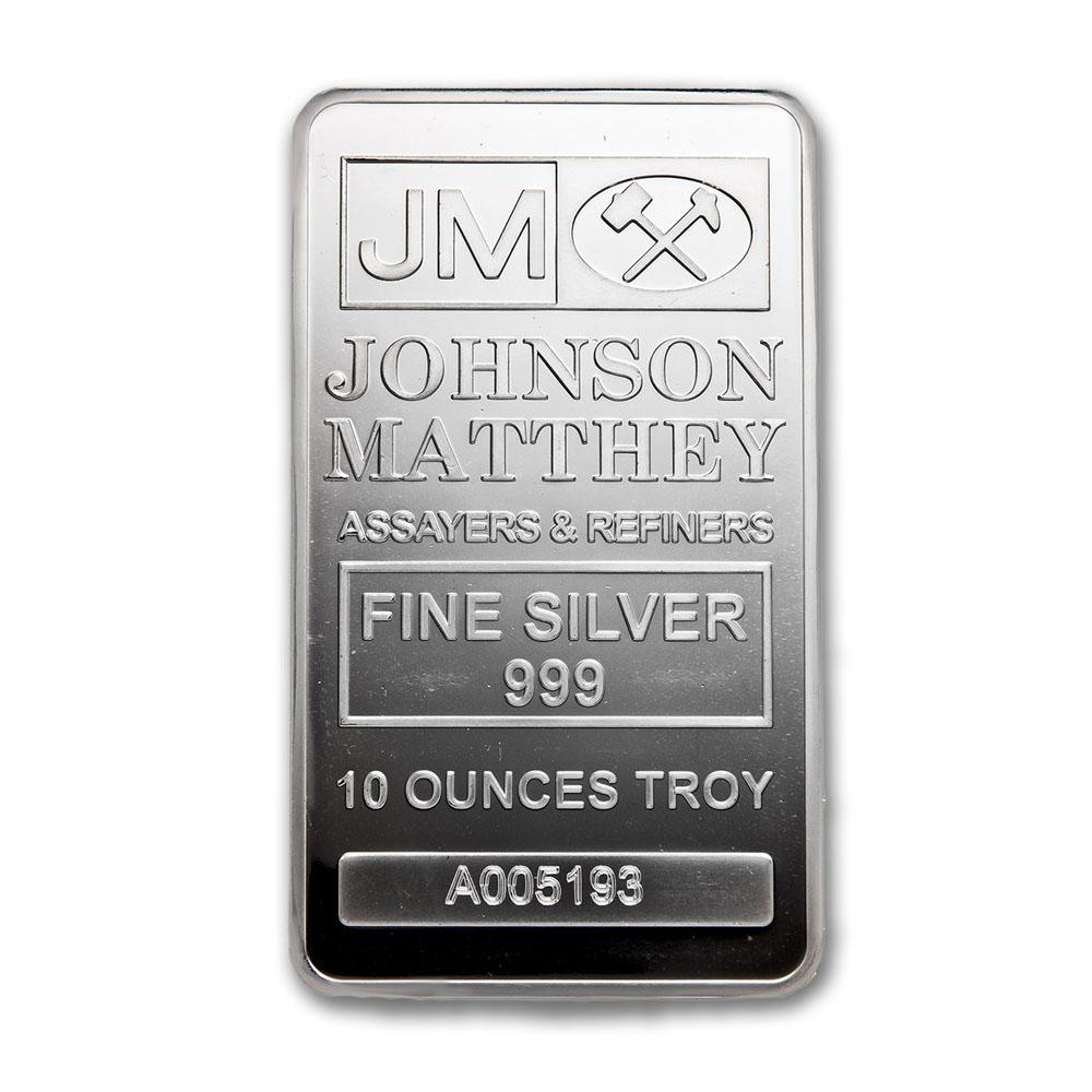 Lot 4177: Genuine 10 oz 0.999 Fine Silver Bar - Johnson Matthey