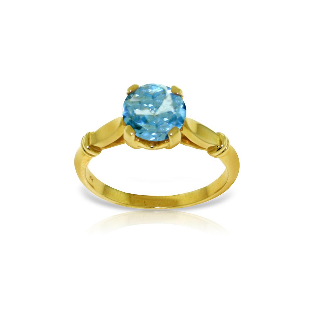 Genuine 1.15 ctw Blue Topaz Ring Jewelry 14KT Yellow Gold - REF-51W4Y