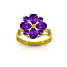 Lot 4197: Genuine 2.43 ctw Amethyst Ring Jewelry 14KT Yellow Gold - REF-48R3P