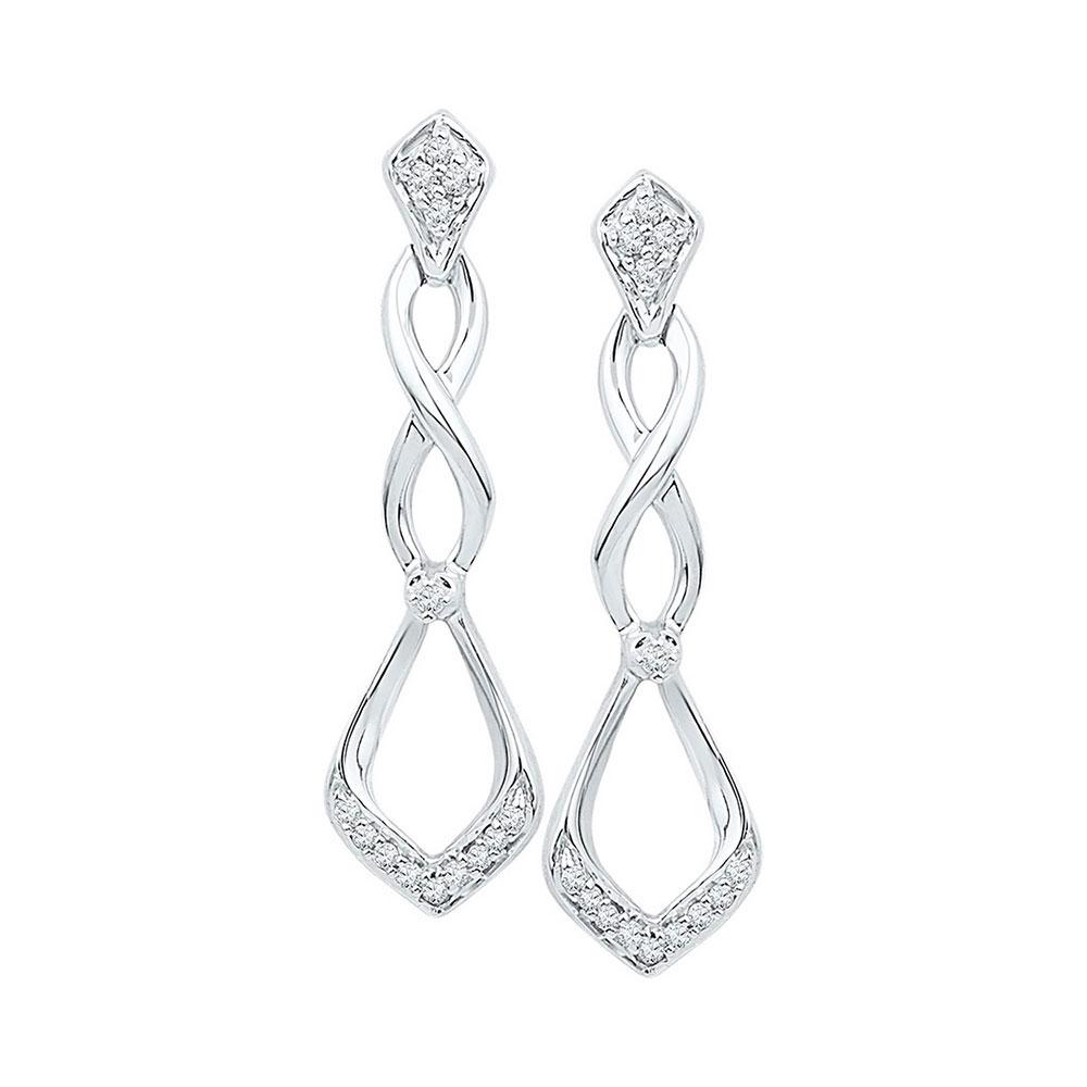 0.10 CTW Diamond Cascading Teardrop Dangle Earrings 10KT White Gold - REF-14W9K