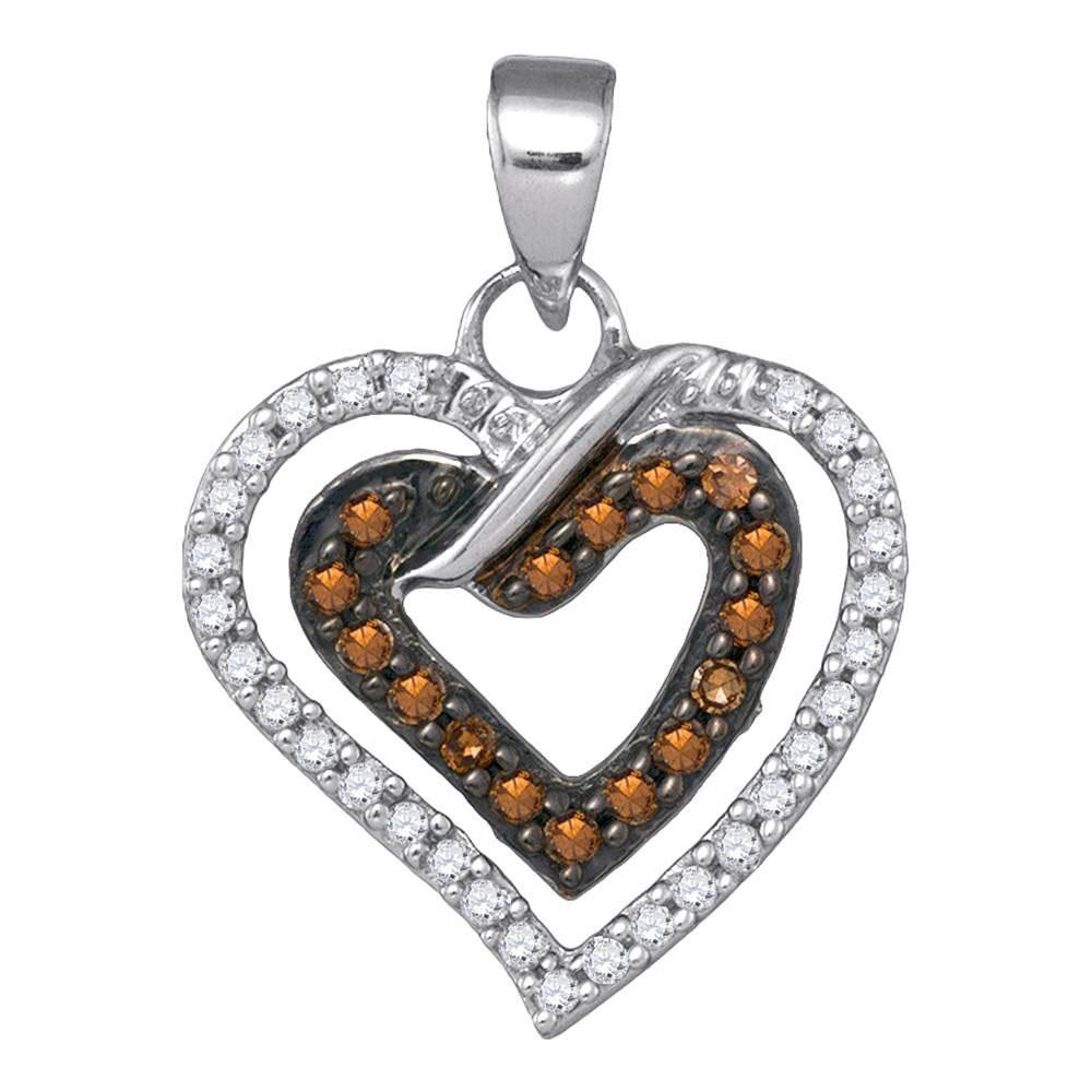 0.25 CTW Cognac-brown Color Diamond Double Heart Love Pendant 10KT White Gold - REF-14X9Y