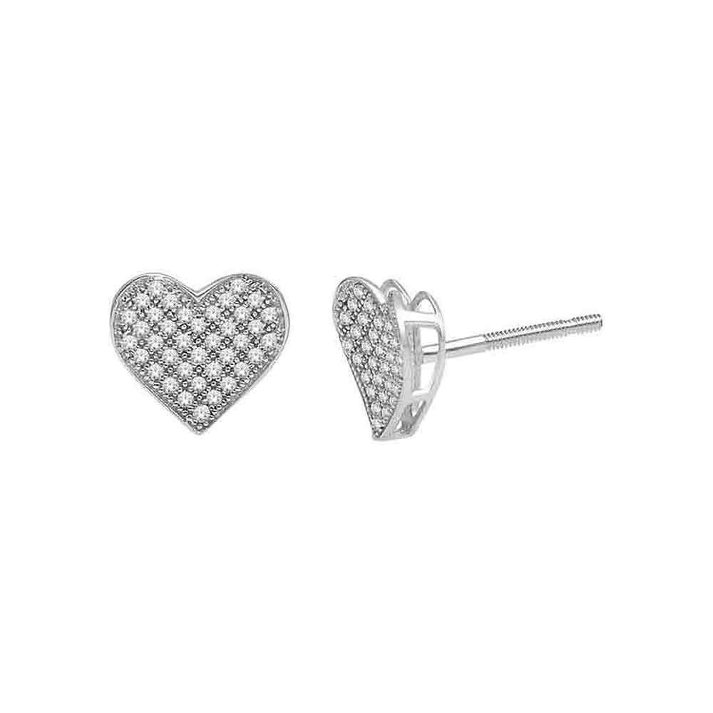0.25 CTW Diamond Heart Earrings 10KT White Gold - REF-20H9M