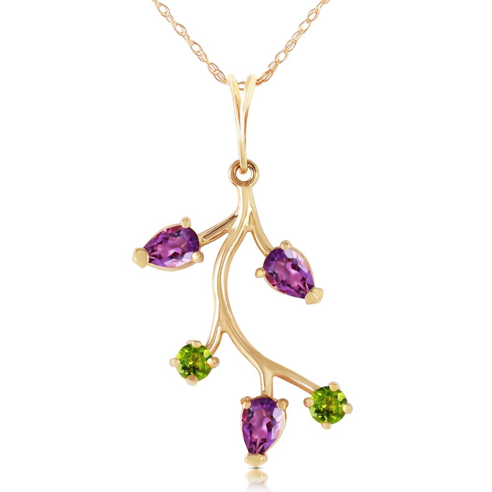 Lot 4016: Genuine 0.95 ctw Amethyst & Peridot Necklace Jewelry 14KT Yellow Gold - REF-32Z2N