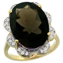 Lot 4020: Natural 13.83 ctw smoky-topaz & Diamond Engagement Ring 14K Yellow Gold - REF-124A4V