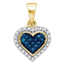 Lot 4023: 0.13 CTW Blue Color Diamond Cluster Small Heart Pendant 10KT Yellow Gold - REF-10N5F
