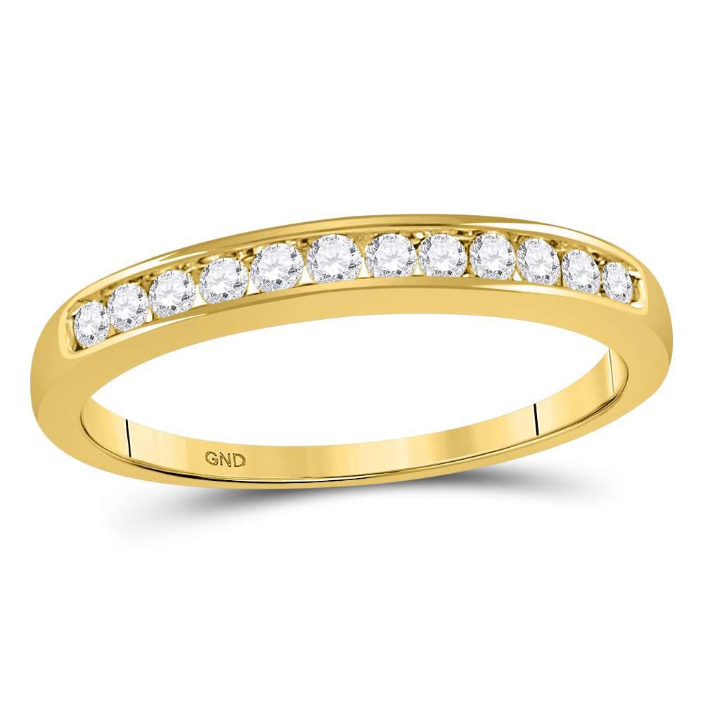 Lot 4030: 0.25 CTW Diamond Single Row Wedding Ring 14KT Yellow Gold - REF-31K4W